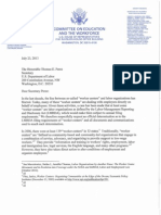 House Committee on Education and the Workforce Letter to Dept of Labor on  Worker Centers and NLRB