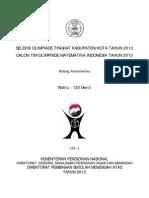 Soal Olimpiade Matematika Tk Kota 2012 Tipe 1