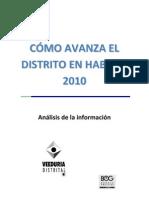Como Avanza El Distrito en Habitad 2010