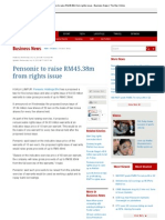 Pensonic to Raise RM45