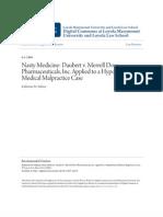 Nasty Medicine- Daubert v. Merrell Dow Pharmaceuticals Inc. Appl