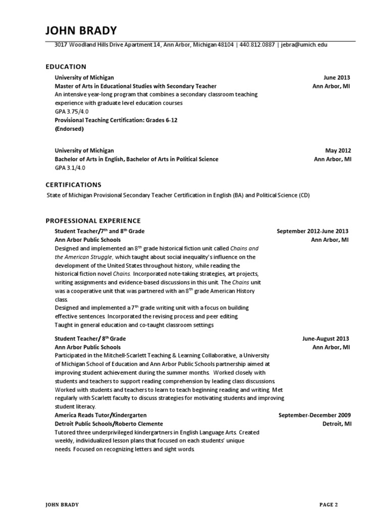 John Brady Official Resume University Of Michigan State School