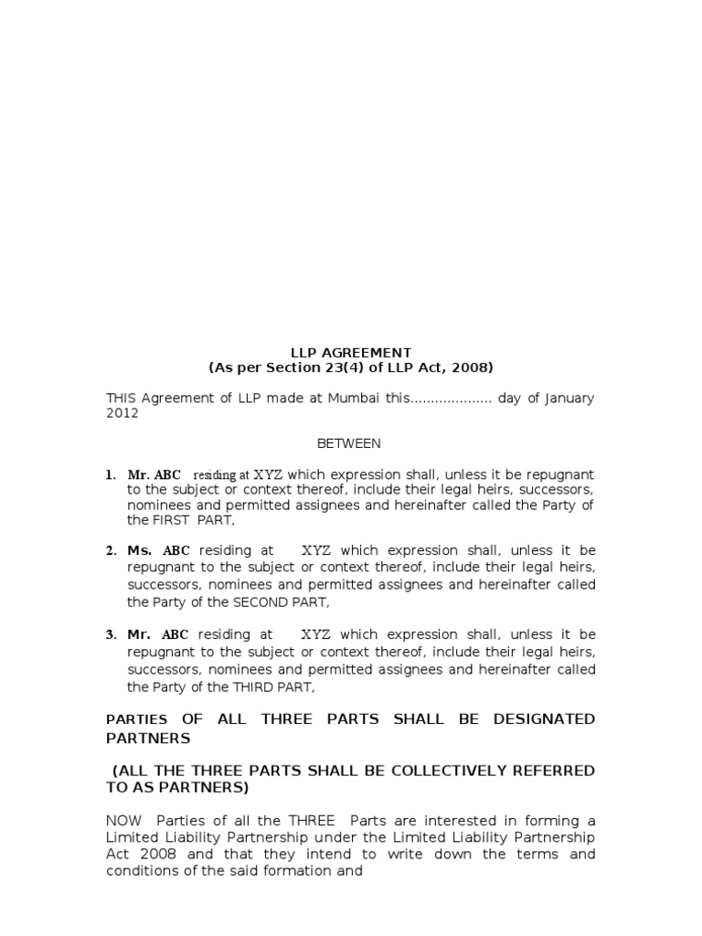 Sample Llp Agreement Limited Liability Partnership