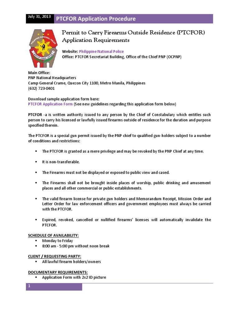 PTCFOR License Application Procedure – Sample Threat Assessment