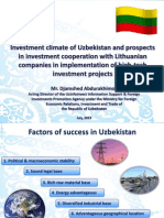 Investment climate of Uzbekistan