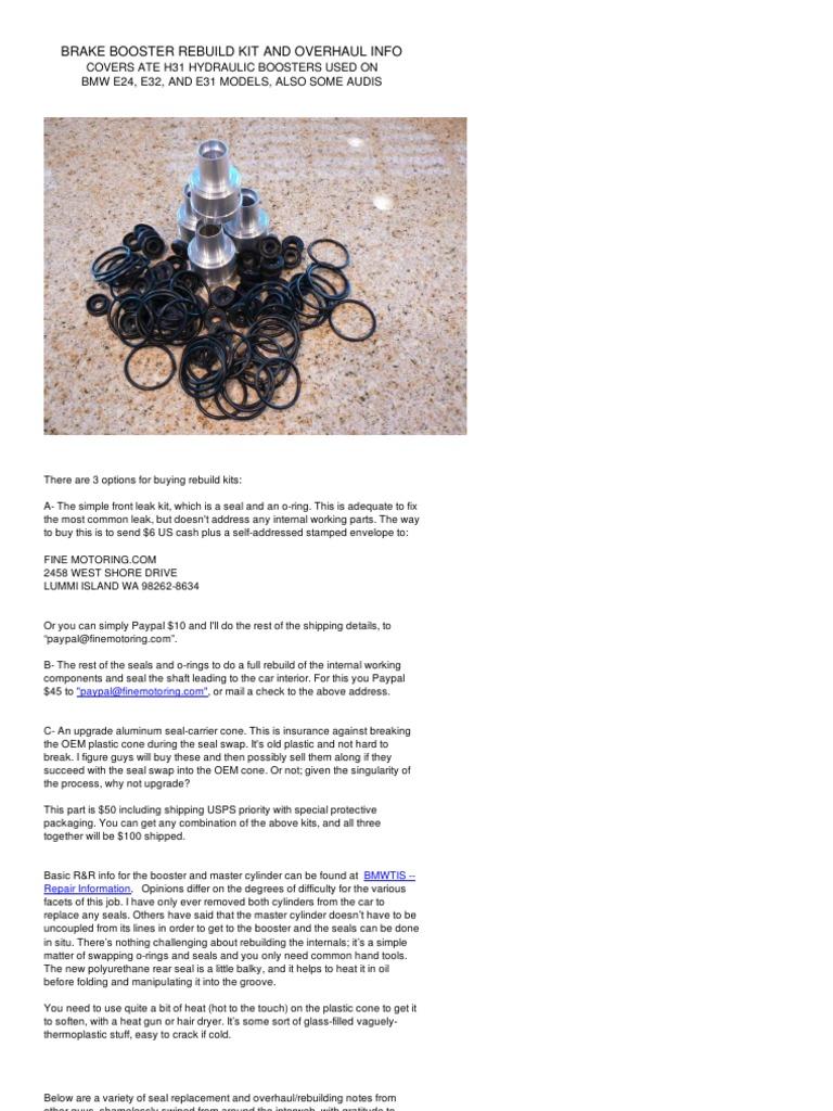 Bmw 8 Us Brake Booster Rebuild | Pump | Brake