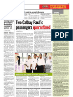 TheSun 2009-05-20 Page05 Two Cathay Pacific Passengers Quarantined