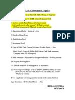 HDFC List of Docs