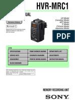 Sony Hvr-mrc1 Service Manual Ver 1.2 2009.03 Rev-2 (9-852-266-13)