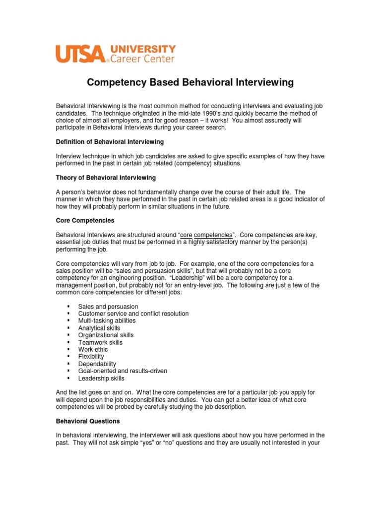 behavioral interviewing summary