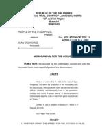 Memorandum for the Accused