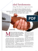 Illinois Bar Journal - Unsettled Settlements:Understanding Mediation Agreements