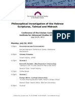Philosophy and Hebrew Scripture conference 2013