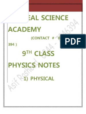 Complete Notes on 9th Physics by Asif Rasheed | Force
