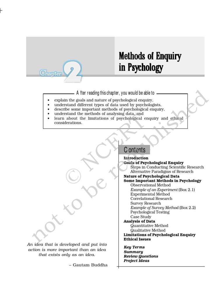 Psychology - Class XI - Chapter 02 | Experiment | Scientific Method