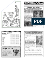 Children's Word bulletin for Sunday, August 4th, 2013
