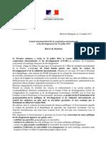 07.31 Relevé de décisions du Comité interministériel de la coopération internationale et du développement (CICID)