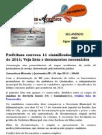 Prefeitura convoca 11 classificados do concurso de 2011; Veja lista e documentos necessários