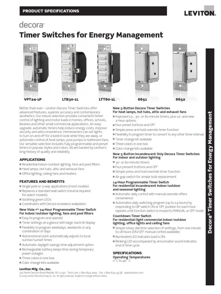 Decora Timer Spec Sheet   Timer   Lighting