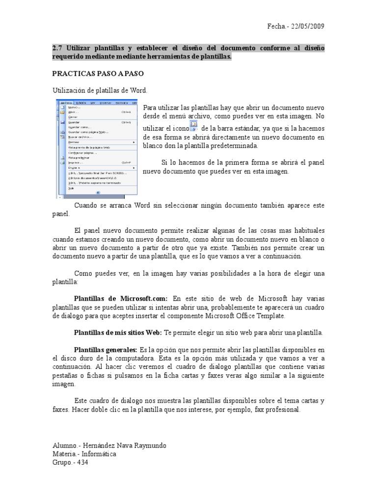 2.7 utilizar plantillas y establecer el diseño del documento ...