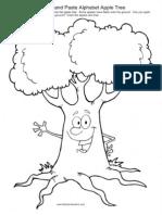 Cut and Paste Alphabet Apple Tree