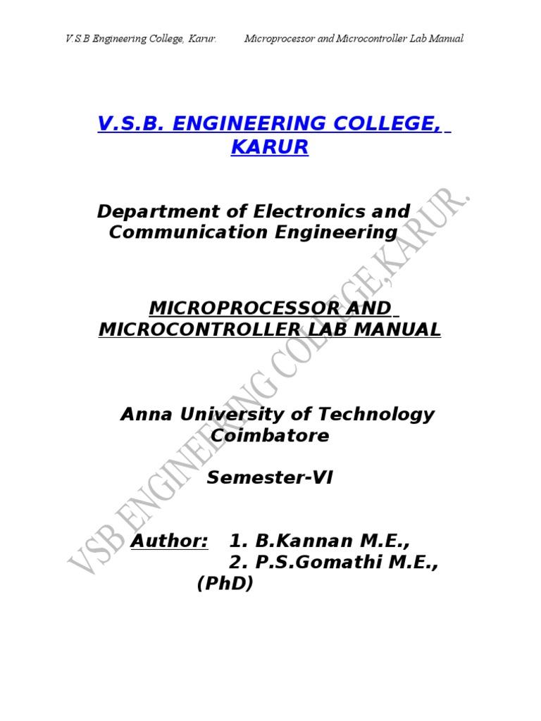 Microprocessor and Microcontroller Lab Manulal | Digital Electronics |  Digital Technology