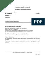 TJC 2007 Prelim H2 P1 Qn Paper