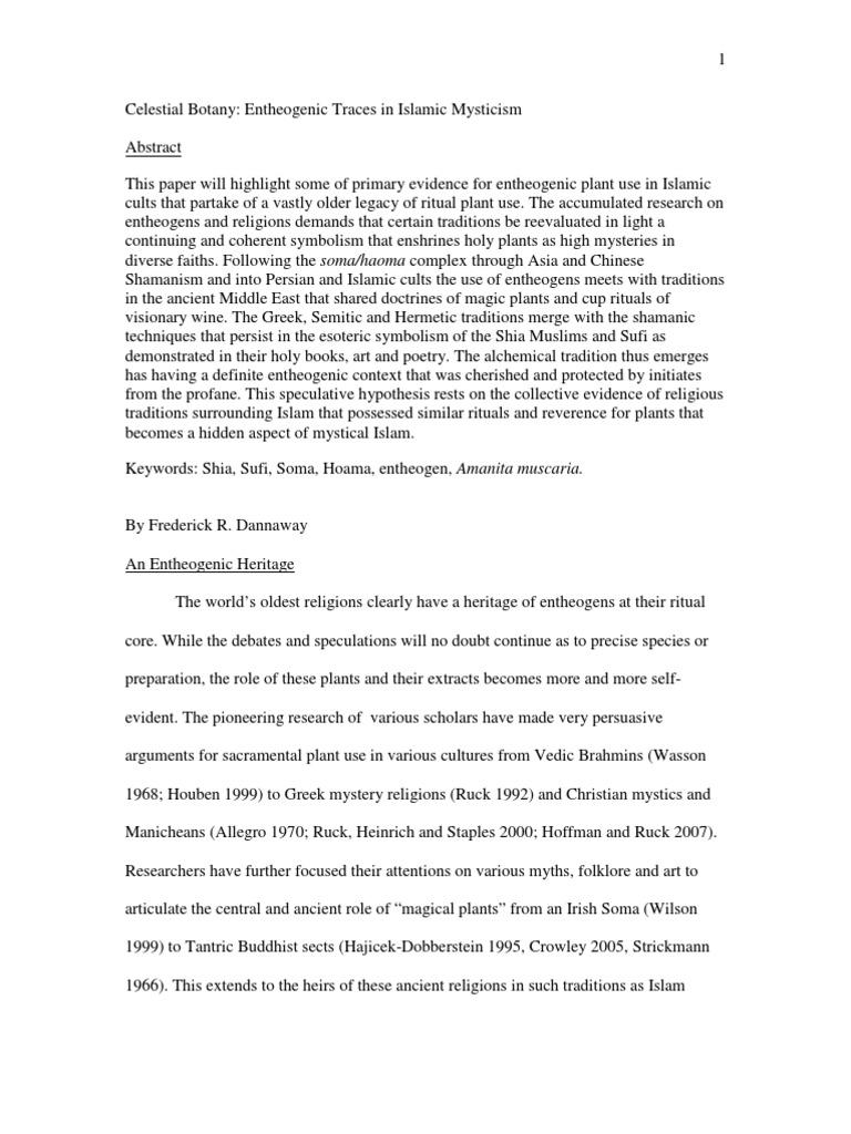 Celestial Botany Entheogenic Traces in Islamic Mysticism