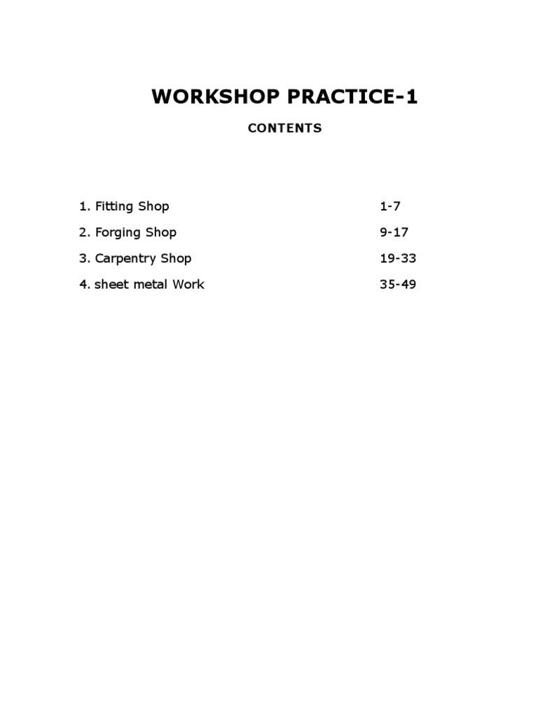 Diploma I Year Workshop Practice -I Manuals MEchanical Engg | Forge | Sheet  Metal