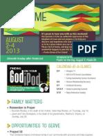 Church Bulletin for August 2 & 4, 2013