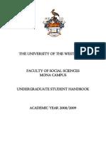 Social Sciences Student Handbook, 2008-2009 - UWI, Mona