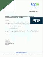 Training Letter