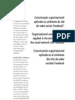 Comunicação organizacional aplicada no ambiente do site de redes sociais Facebook