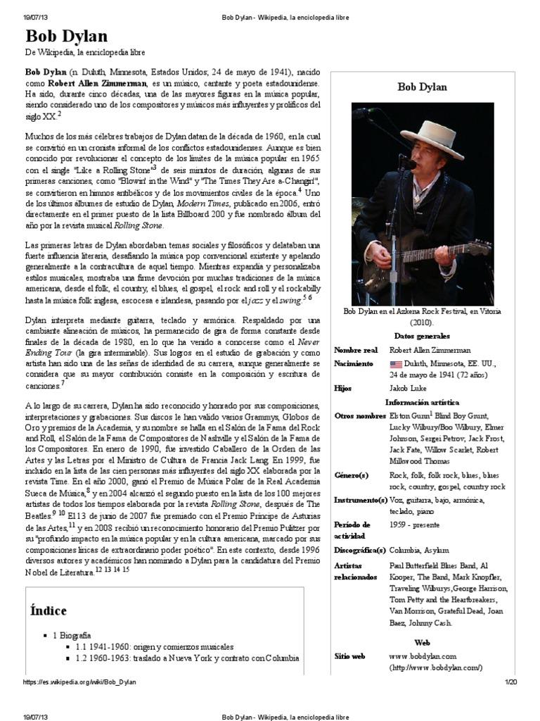 Bob Dylan - Wikipedia, La Enciclopedia Libre