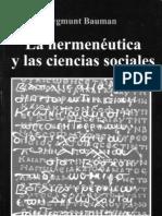 Bauman-La hermenéutica y las ciencias sociales