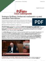 Sentenza Mediaset, Berlusconi condannato a 4 anni. Annullata l'interdizione - Il Fatto Quotidiano