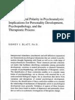 Blatt a Fundamental Polarity in Psychoanalysis Implications for Personality Development Psychopathology and the Therapeutic Process