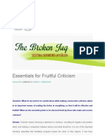 Essentials for Fruitful Criticism