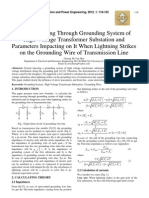 Current Passing Through Grounding System of High Voltage Transformer Substation and Parameters Impacting on It When Lightning Strikes on the Grounding Wire of Transmission Line