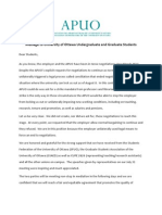 APUO -- letter to students -- August 1st, 2013