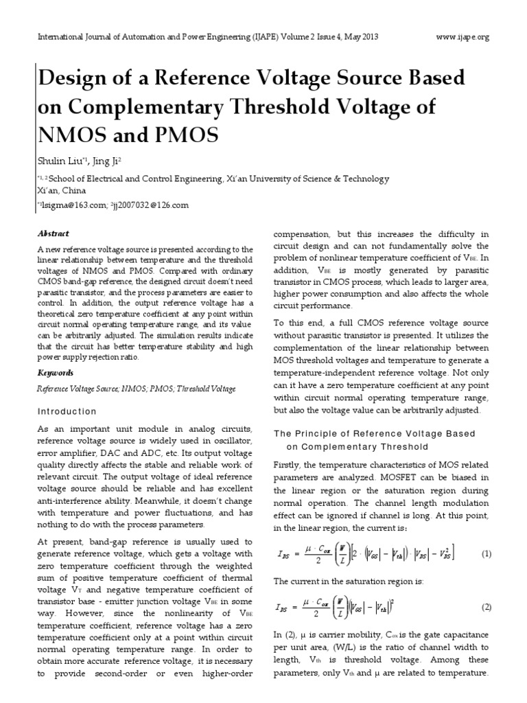Design Of A Reference Voltage Source Based On Complementary Circuit To Use Nmosfet Instead Pmosfet Electrical Engineering Threshold Nmos And Pmos Mosfet Amplifier