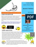 Spanish 1 Syllabus 2013-2014