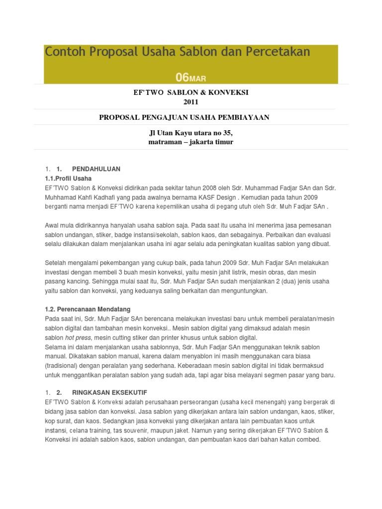 Contoh Proposal Usaha Percetakan Digital Printing Pdf Berbagi Contoh Proposal