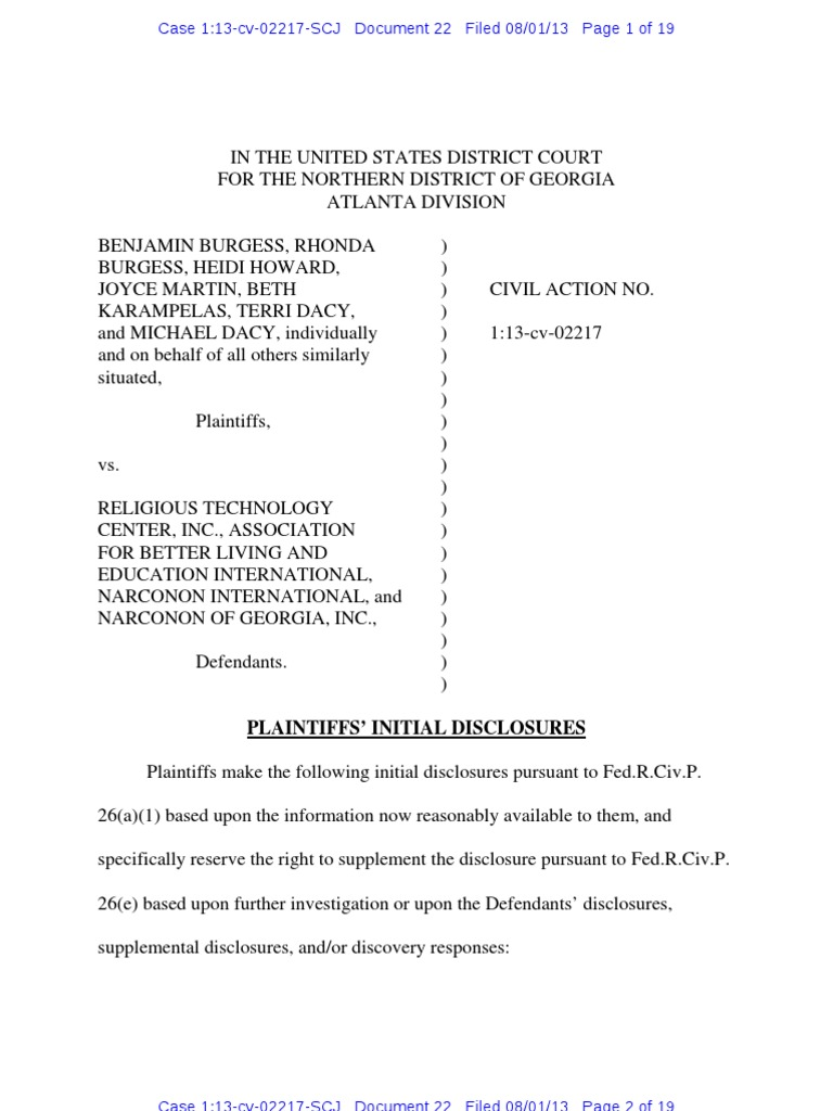 What Is A Class Action Lawsuit >> Burgess: Plaintiffs' Initial Disclosures | Negligence | Discovery (Law)