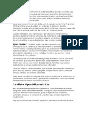 Dieta hiposodica en hipertension arterial pdf