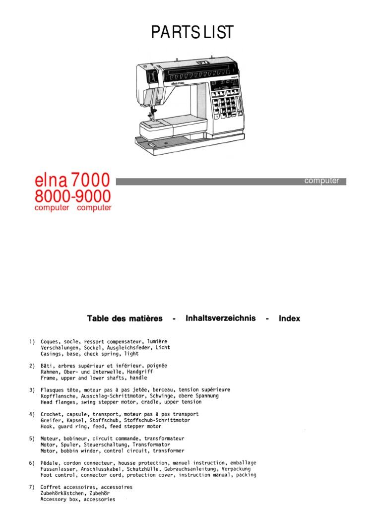 Elna 7000 Parts List