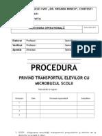 Procedura Privind Transportul Elevilor Cu Microbuzul Scolar