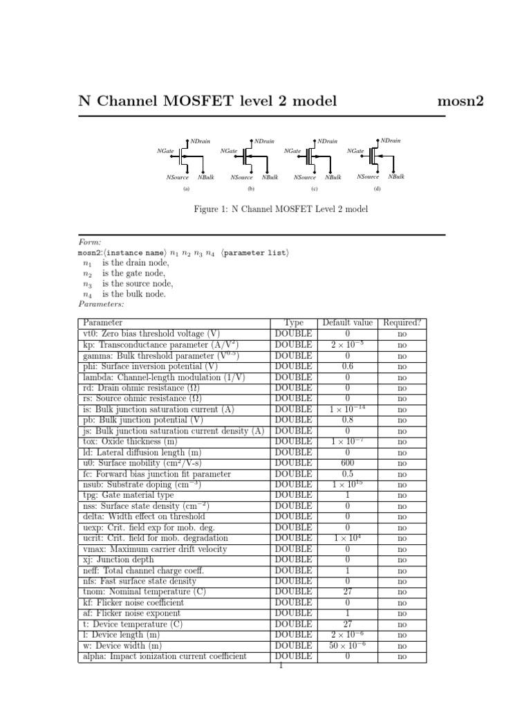 N Channel Mosfet Level 2 Model Field Effect Transistor Lantern Dimmer Flasher
