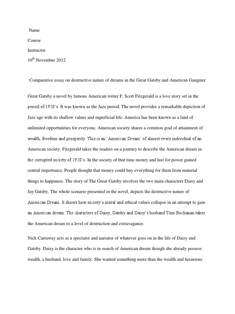 essays about the great gatsby