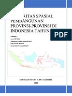 Disparitas Spasial Pembangunan Provinsi-Provinsi Di Indonesia Tahun 2011